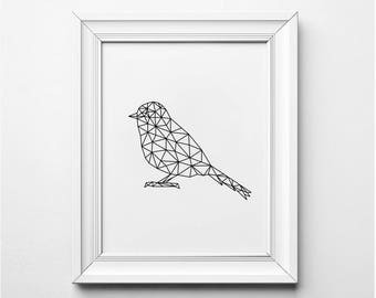 BIRD Wall Art, Origami Bird Print, Modern Nursery Decor, Geometric Bird Print, Printable Bird Poster, Bird Nursery Art, Black and White Art