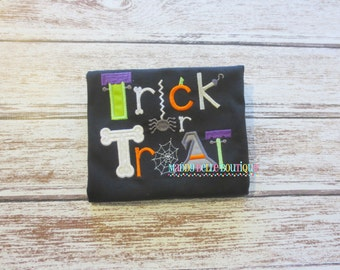 Trick or Treat Appliqued Shirt - Embroidered, Personalized, Monogram, Trick or Treat, Boys Halloween Shirt, Girls Halloween Shirt, Halloween