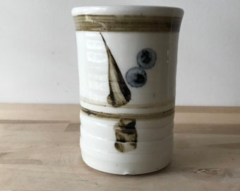 Vintage Stoneware, Tall, Coffee or Tea Mug, Bamboo Design, Speckled