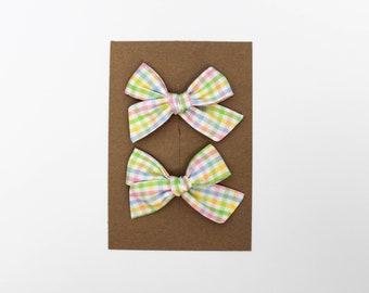 Mini Pinwheel // Gingham Pastel Pigtail Set