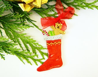 Christmas Tree Decorations - Xmas Stocking with Presents - Flat Pewter Miniature - Hand Painted on both sides - ED1904B