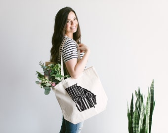 GEORGIA Hand Lettered Tote Bag Design • Typographic Georgia On My Mind State Pride Cotton Canvas Tote Bag • FREE SHIPPING