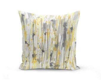 Outdoor Cushion, Patio Throw Pillows, Yellow Grey, Throw pillow, Home Decor, Outdoor Decor