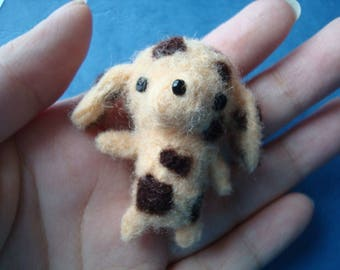 Upcycled – Needle felted miniature chocolate chip dalmatian plush pin