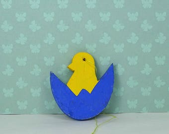 Vintage Easter chick egg ornament 1960s wood yellow blue