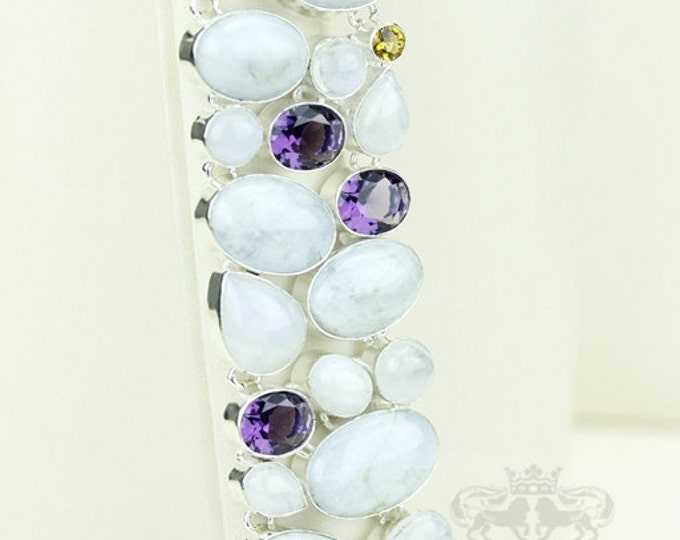 Glam it Up! Moonstone Amethyst Citrine 925 S0LID Sterling Silver Bracelet & FREE Worldwide Express Shipping B1782