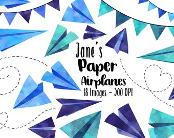 Watercolor Blue Paper Planes Clipart - Travel ClipArt - Digital Download - Cute Airplane Graphics