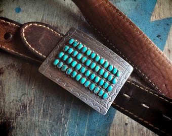 Zuni Jewelry Turquoise Belt Buckle for Men or Women, Native American Indian Zuni Belt Buckle