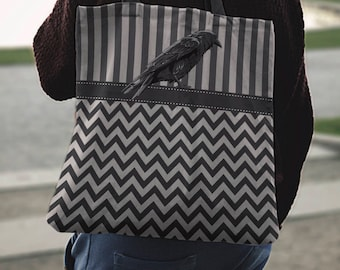 Stripes and Zig Zags with Raven Canvas Tote Bag Gray