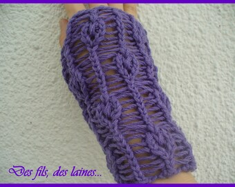 Original knitted leaf motifs mitts one size with lacing, original knitted hand accessory, knitted wrist warmers cuffs, knitted mittens