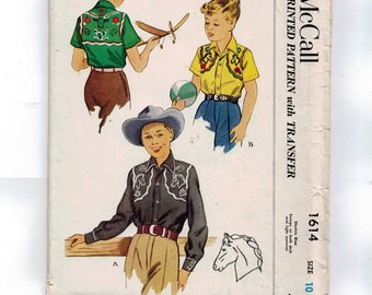 1950s Vintage Sewing Pattern McCall 1614 Boys Western Shirt With Embroidered Yoke Detail Size 10 Chest 28