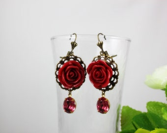 Deep Red Rose with rose glass jewel Earrings. Gift for her.  Anniversary, Birthday, Bridesmaid, Christmas.