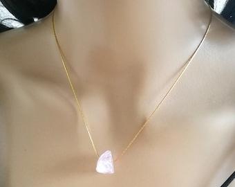 Rose Quartz Choker, Rose Quartz Necklace, Gemstone Choker Necklace, Crystal Choker, Crystal Necklace, Pink Raw Gemstone Necklace, gemstone