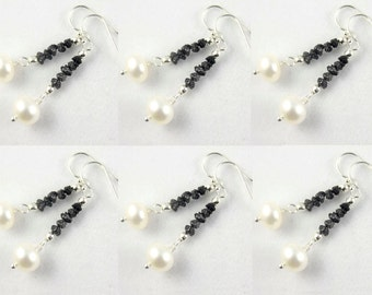 SET OF 6 - Black Rough Diamond Pearl Earrings - Sterling Silver - Raw Diamond Earrings - Bridesmaid Jewelry Gift Set