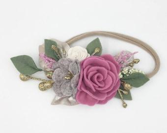 Golden fairy garden rose felt headband