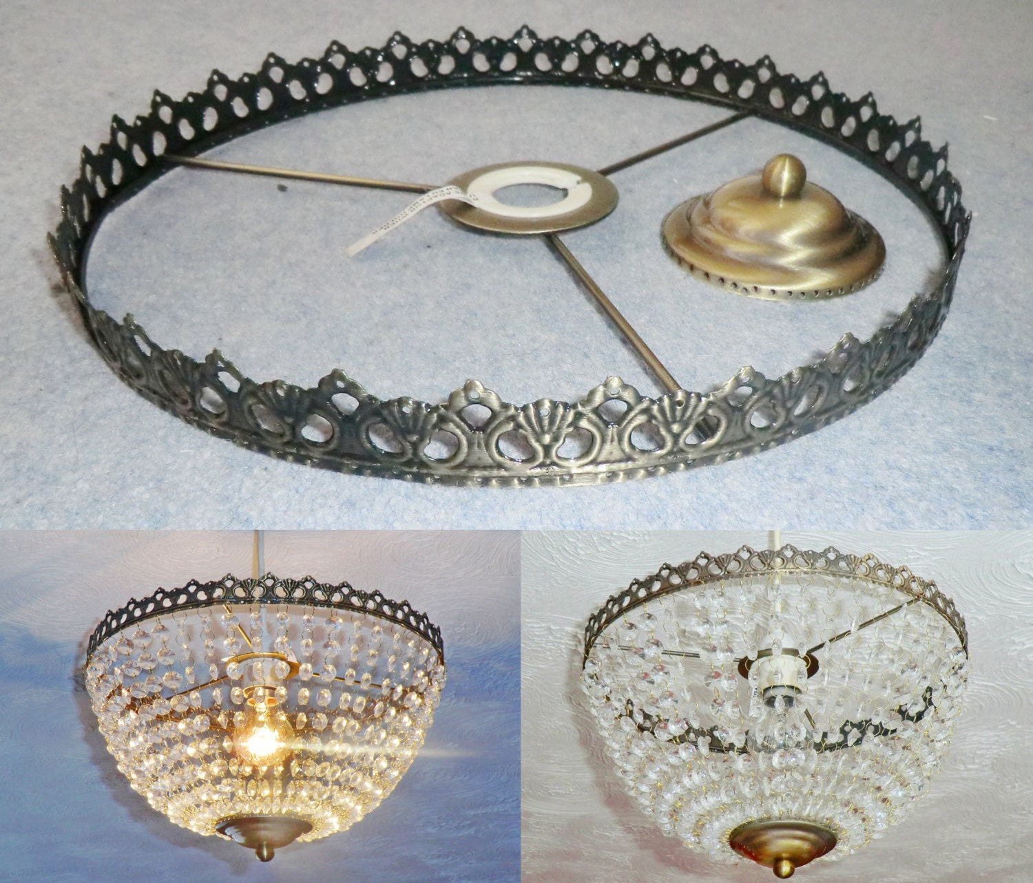 Basket Chandelier Metal Frame Skeleton Make Your Own Chandelier