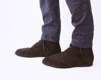 Wingtip oxford boots -  Heritage in brown suede - Men's Handmade Leather lace-up boots - CUSTOM FIT