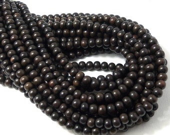 Ebony Wood Bead, Dark, Round, 4mm - 5mm, Very Small, Smooth, Natural Wood Beads, 16 Inch Strand - ID 1308-DK
