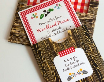 Picnic Invitation Printables Set (Customizable): Woodland Picnic Party with Thank you, Toppers, Bunting and More (INSTANT DOWNLOAD)