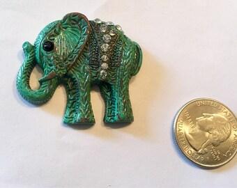 Jeweled Patina Elephant Needle Minder