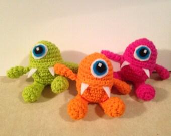 Three Crochet Easter Egg Monsters