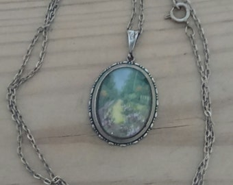 Vintage handpainted garden scene pendant and chain