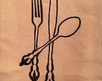Tan and Black Kitchen Towel with Fork, Knife & Spoon