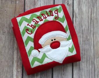 Personalized Monogrammed Christmas Santa Shirt - Chevron Santa Applique Personalized Red Christmas Shirt for Boy Christmas or Girl Christmas
