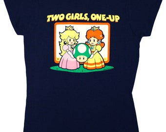 Two Girls, One-Up Ladies Fitted T‑Shirt