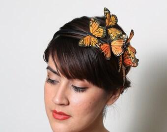 Orange Monarch Butterfly Headband - fall, bright, woodland, fairy tale