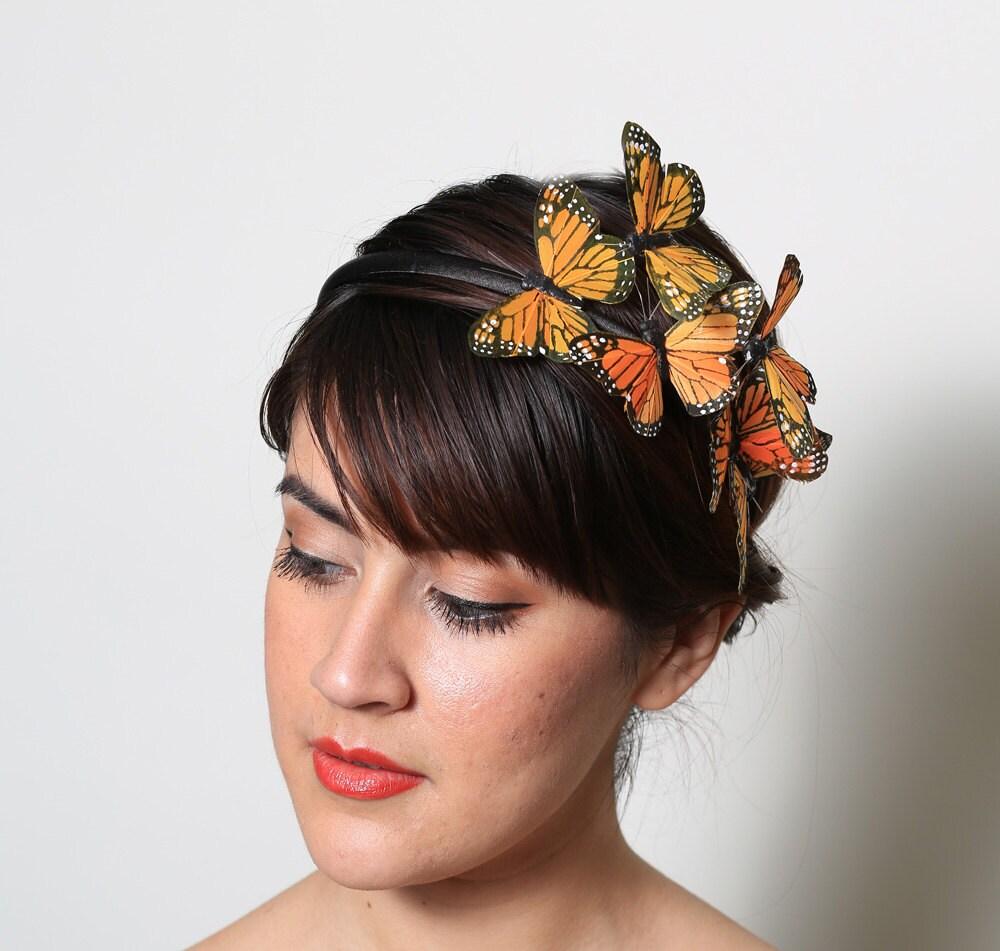 orange monarch butterfly headband fall bright woodland
