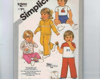 1980s Vintage Child's Sewing Pattern Simplicity 5398 Boys Girls Toddler Top Shorts Pants Boys Girls Size 1 2 3 Breast 20 21 22 1981 UNCUT