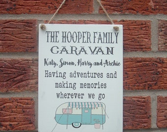 Family Caravan wooden sign plaque personalized family adventures
