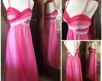Vintage 1970s pink criss-cross formal maxi dress with scarf