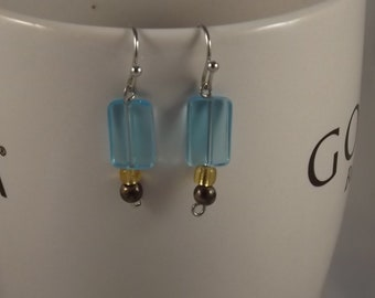 Blue Glass and Brass Earrings