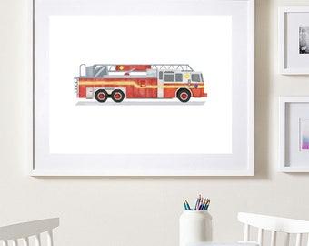 Fire truck wall art, Firetruck Wall Art, Fire truck nursery, Firefighter wall art, Transportation decor, Watercolor cars, Fire truck poster