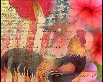 Americana Rooster - Digital Collage by ruby