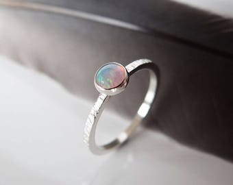 Opal Ring - Opal Stacking Ring - October Birthstone Ring