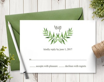"Watercolor Wedding RSVP Card Template ""Lovely Leaves"", Green. DIY Printable Wedding Response Cards. Editable text, MS Word. Instant Download"