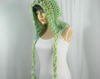 Large Adult Hood Crochet Hood Green Crochet Hat Tassel Hat Adult Hood Green Winter Hood Green Ear Flap Flat Big Hair Pixie Hood Dread Hood