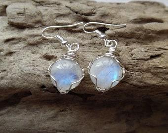 Large Moonstone Earrings, Gemstone Drop Earrings, Rainbow Moonstone Jewelry, Crystal Earrings, Wire Wrapped Gemstone Earrings, Bohemian
