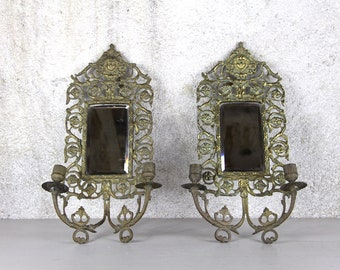 Antique French Mirror Ornate Brass Mirror With 3 Wall Sconce Arms, Louis XVI