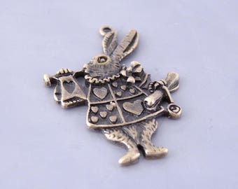 3 large pendants 'Rabbit from Alice' and his trumpet 36 x 24 mm - color bronze (BP0210)