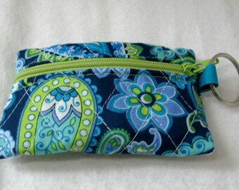 Quilted Coin Purse - Paisley Change Purse - Small Zippered Pouch - Teal Lime