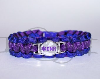 Do Not Resuscitate DNR Medical Alert ID ALLOY Charm on 550 Paracord Survival Strap Bracelet with Plastic Contoured Side Release Buckle