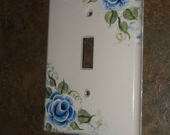 Shabby Cottage Chic Hand Painted Blue Rose Light Switch Cover