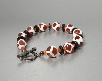 African Jewelry Toggle Bracelet Tibetan Dzi Beads Stone Bracelet Giraffe Beads Carnelian Gemstone Animal Print