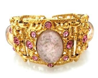 Pink Lucite Confetti Statement Bracelet, Five Panel Bracelet, Ornate Gold Metal Work, Bright Pink Chatons, Elaborate Open Metal Work,