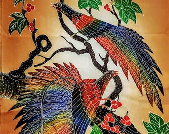 Indonesian Batik Panel     Two Birds    Balinesian Art   Vintage Item