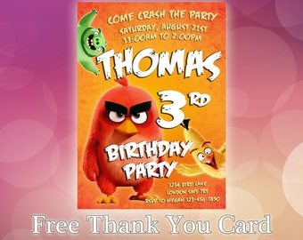 Angry Birds Invitations / Angry Birds Birthday Invitation / Angry Birds Party / Angry Birds Invitation Card / Angry Birds Invitation / AB08